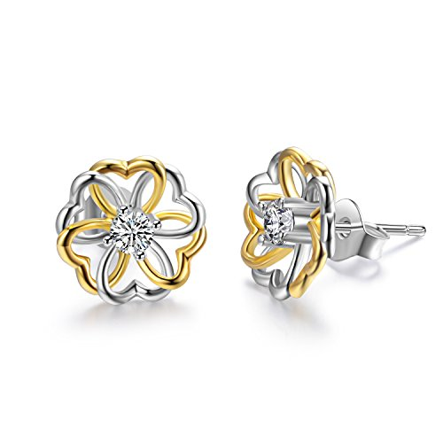 AOBOCO Sterling Silver Flower Heart Stud Earring Two Tone Earrings with Swarovski Crystal,Gift for Mother Women