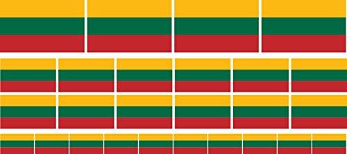 Mini Aufkleber Set - Pack glatt - 4x 51x31mm+ 12x 33x20mm + 10x 20x12mm- Sticker - Litauen - Flagge - Banner - Standarte fürs Auto, Büro, zu Hause & die Schule - Set of 26