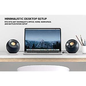 Creative Pebble V2 – 2.0-Desktop-Lautsprecher mit USB-C-Stromversorgung, 3,5 mm AUX-Eingang, bis zu 8 W Leistung für Computer und Laptops, Typ-A-Adapter enthalten und verlängertes Kabel (schwarz)