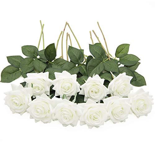 U'Artlines 10 STÜCKE Künstliche Blumen Rosen,Kunstblumen Rosen Einzelner Stiel Brautstrauß,Gefälschte Rose für Hochzeit(Weiß)
