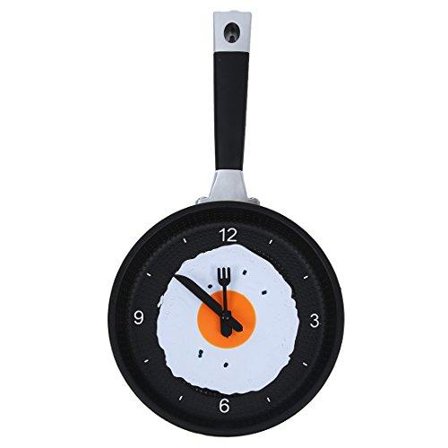 SNOWINSPRING Reloj de Sarten con Huevo Frito - Reloj de Pared Novedad para Cocina - Verde