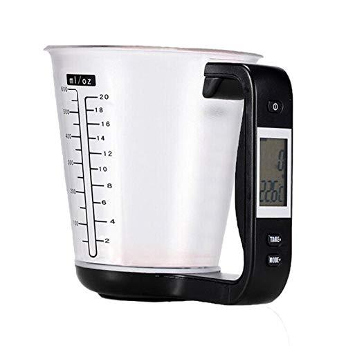 LONGWDS Escala con Pantalla LCD Temperatura de medición de Temperatura Escalas de Cocina Digital Beaker Libra Electronic Tool Scale Temperatura Copa de medición Herramienta de Medida (Color : Black)