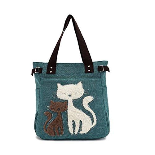Minetom Frauen Schulter Beutel Segeltuch Tasche Niedliche Katzen Tasche Büro Mittagessen Beutel Einkaufstüten Handtasche (Dunkelgrün)