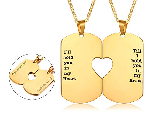 His and Hers Couple Necklace, Stainless Steel Matching Heart Dogtag Love Quote Engraved Stamped Pendant Necklace, Couples Necklace for Valentine Day GiftGold Plated