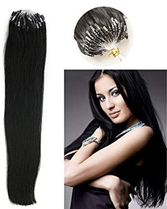 Haibis Straight Micro Loop Hair Extensions Ombre Black to Red Color