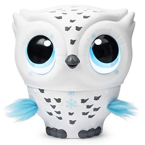 Owleez 6046148 Latająca Interaktywna Zabawka Sowa, z Efektami Świetlnymi i Dźwiękiem, Biała