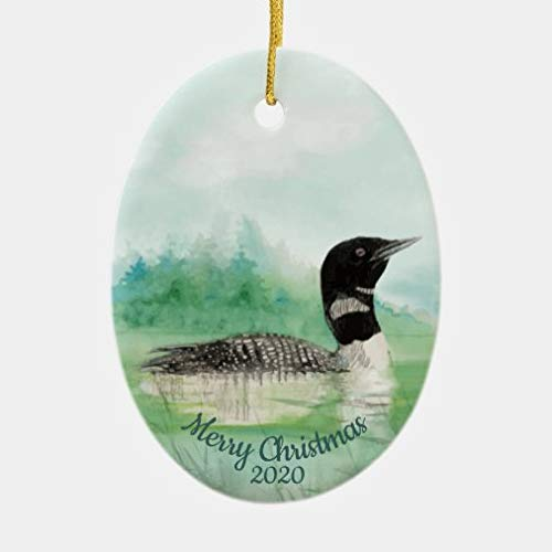 onepicebest Christmas Ornaments 2020, Custom Dated Christmas Watercolor Common Loon Bird Ceramic Oval Shape Ornament, Decorating Hanging Ornaments Christmas Party Decor Xmas Gift