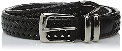 Perry Ellis Men's Portfolio Braided Belt, Black, 36