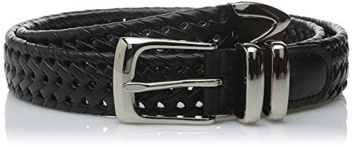 Perry Ellis Men's Portfolio Braided Belt, Black, 38 Black Leather Woven Belt