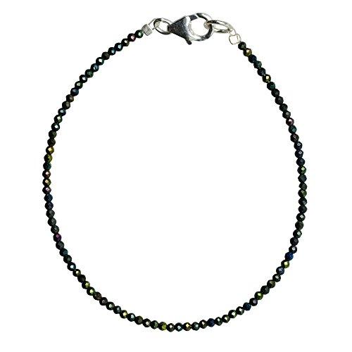 I Be, schwarzers Spinello braccialetto nero Ø 2mm gruenlich Luccicante, 925in argento Sterling con chiusura a moschettone, lunghezza 18,5cm 506602/gr/18,5
