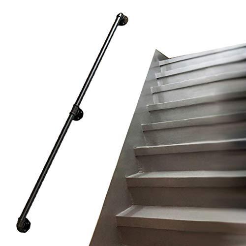 GOHHK Kit Pared para Barandilla Escalera 80-600cm Barandilla Barandilla Escalera para Riel DesváN áTico Villas, Acabado Hierro, Negro (TamañO: 120 Cm)