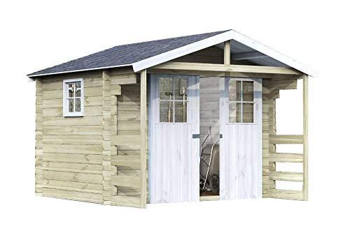 Alpholz Gartenhaus Lier 28 aus Massiv-Holz | Gerätehaus mit 28 mm Wandstärke | Garten Holzhaus inklusive Montagematerial & Dachpappe | Geräteschuppen Größe: 300 x 240 cm | Satteldach