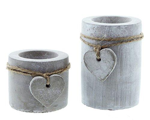 FRANK FLECHTWAREN Moderner Teelichthalter Stone-Heart im 2er Set in Angesagter Beton-Optik