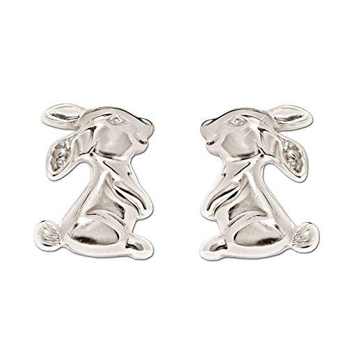 CLEVER SCHMUCK Silberne Mädchen Ohrringe als Ohrstecker 7 mm Hase plastisch seitlich sitzend glänzend Sterling Silber 925