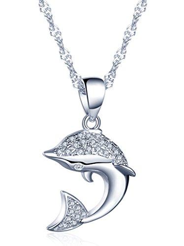 Yumilok 925 Sterling Silber Zirkonia Zierlicher Delfin Delphin Anhänger Halskette Kette mit Anhänger für Damen Kinder Delfine Liebhaber