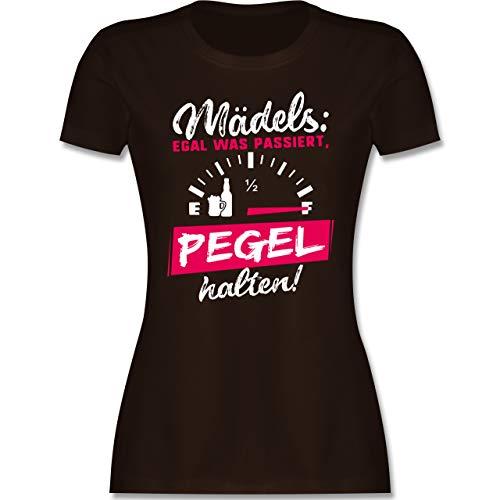 Typisch Frauen - Mädels: Egal was passiert, Pegel halten! - M - Braun - Schnaps Tshirt - L191 - Tailliertes Tshirt für Damen und Frauen T-Shirt