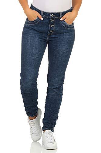 Karostar trendy Damenjeans im Boyfriends Style/Chino in Blau und Schwarz/Hüfthose Stretch 68 (38, Blau 00)
