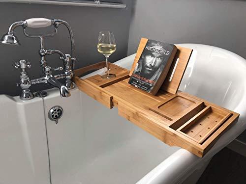 bathbü Luxus Badewannenablage aus 100% bambus / Erweiterbar Beine und Arme, Buch / Tablet Halter, Weinglas Halter, Zubehör Tablett, Handyhalter und Schiebe Tablett / Passt die Meisten Bad Größen
