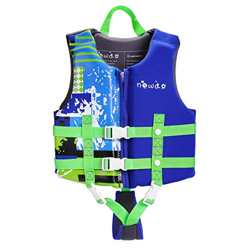 KUYOU Kids Swim Vest Life Jacket Boys Girls Youth Flotation Swimsuit Buoyancy Swimwear Swimming Aid Vest with Adjustable Safety Strap Age 7-12 Years/ 41-50 Lbs (Blue L)