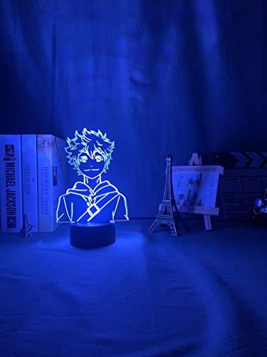 Luz nocturna 3D de acrílico LED, luz nocturna Anime Haikyuu Shoyo Hinata Figura para niños dormitorio Decoración Nightlight Cool Manga Gadget Niño Lámpara de mesa ZGLQ