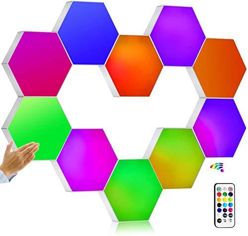 Splicing Quantum LED Lampe, Mit Fernbedienung Hexagonal Wandleuchte, RGB Panels Smart-Stimmungs-Beleuchtung Modular- Dekorative Honeycomb Lichter,10pcs