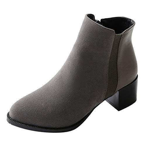 Mymyguoe High Heels Boots Vintage Frauen Stiefel Reine Farbe Stiefeletten Spitz Reißverschluss Stiefel Chunky Heels Warmer Chelsea Boots Stiefeletten Bequem Schwarz Grau Gelb 35-43