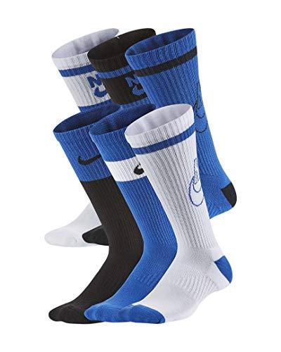 Nike Kid`s Everyday Cushioned Crew Socks 6 Pack (Multi-Color(CK7302-903)/Blue, Medium)