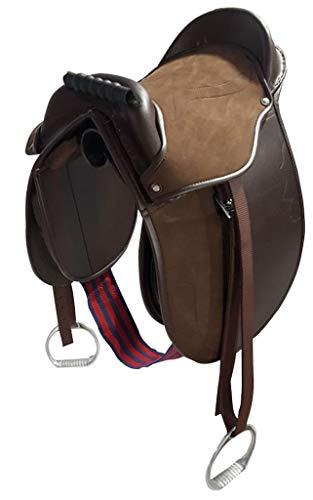 Cwell Equine Kinder Pony-Polster/Kindersattel mit Steigbügel, Gurt und Gurten, 30,5 cm, Braun