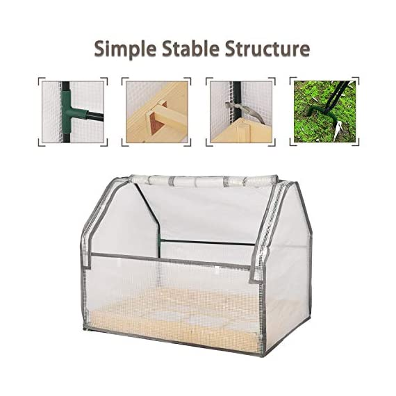 """Solid wood raised garden bed set for vegetable/flower/fruit 48"""" l×22"""" w×30"""" h box nature wood (raised garden bed) 2 material - translucent mesh-like pe cloth that prevents direct sunlight on the basis of easy observation of plant growth. The support tube is made of metal and is equipped with a plastic connection. No installation tools, easy to install and stable. Combined design - this wood raised garden bed can be combined with our other greenhouse to ensure the plant cultivation temperature throughout the greenhouse. The greenhouse and the raised garden are connected by metal buckles,the included installation tool can be easily installed. Special design - the product is equipped with a viewing port and can be opened and closed by a zipper. The product is equipped with a viewing port and can be opened and closed by a zipper. Facilitate observation of plant growth status and watering plants"""
