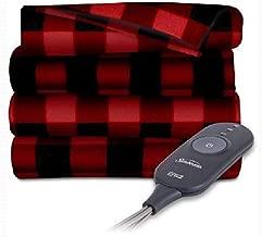 Sunbeam Electric Heated Fleece Throw, 50 x 60, Red/Black Plaid