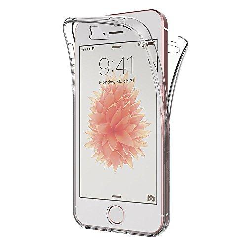AICEK Funda iPhone Transparente Silicona 360°Full Body Fundas para iPhone SE Carcasa Silicona Funda Case (4,0 Pulgadas)