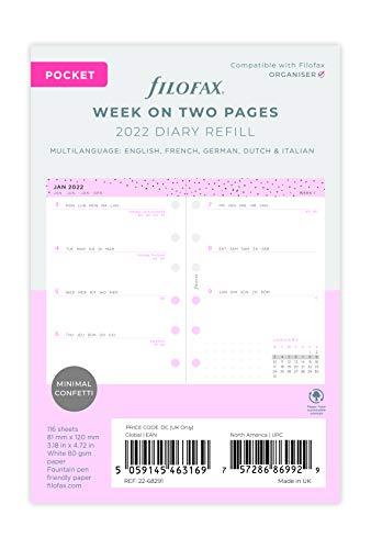 Filofax 2022 22-68291 - Agenda tascabile con coriandoli settimanali