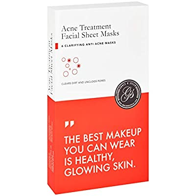Acne Treatment Sheet Mask (Set of 6) Facial Masks for Pimple, Hormonal, Blemished, Textured Skin - Helps Scars Removal And Prevent Breakouts