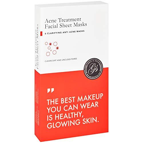 Mascarillas faciales para el acn Grace & Stella - Vegano - Mascarillas faciales para el cuidado de la piel con cido saliclico para reducir las imperfecciones y la piel hinchada (paquete de 6)