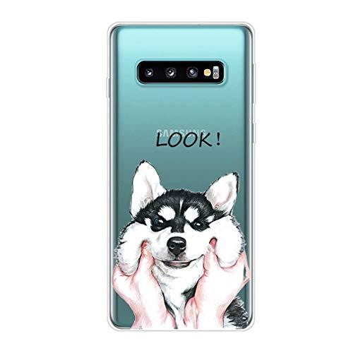 Homikon Silikon Hülle Karikatur TPU Tasche Handyhülle Transparente Durchsichtig Kirstall Clear Ultra Dünn Schutzhülle Stoßdämpfend Case Cover Kompatibel mit Samsang Galaxy S10 - Hund