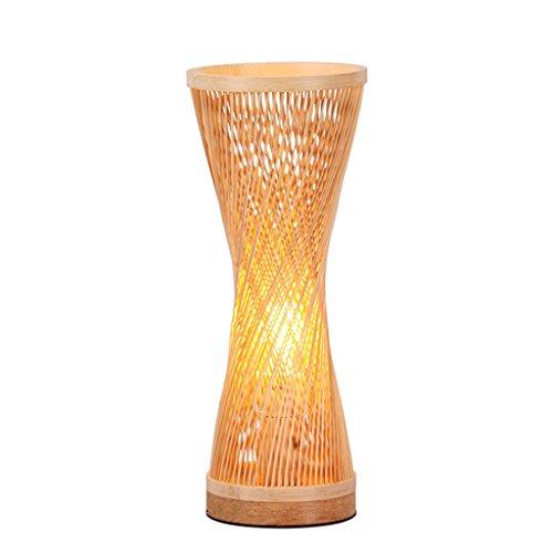 CSD Lámpara de mesa de bambú hecho a mano chino estudio dormitorio luz nocturna restaurante del sudeste asiático luces decorativas retro pastoral E27