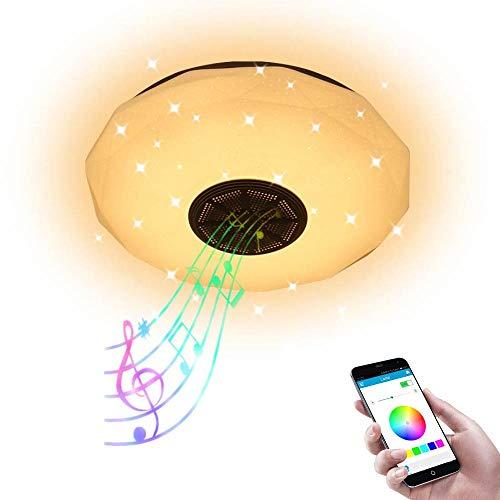 AEUWIER Lámpara de techo con música a todo color, lámpara de techo con altavoz Bluetooth regulable de 36 W, luz RGB de 29 cm con 51 cuentas de luz y pantalla para el salón del dormitorio (29 c