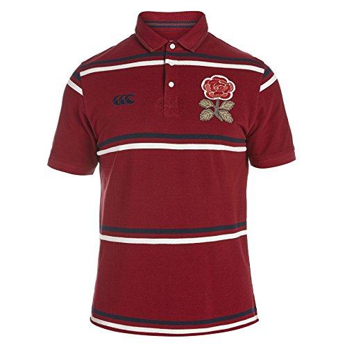 Canterbury Mens England 1871 Striped Cotton Rugby Polo Shirt