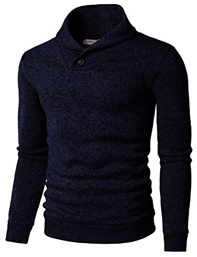 H2H Mens Knited Slim Fit Pullover Sweater Shawl Collar with One Button Point Navy US M/Asia L (KMOSWL036)
