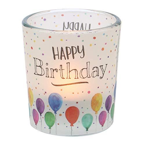 Dekohelden24 Windlichtglas mit Motiv auf Einer transparenten Banderole, inkl. 1 Teelicht, H/Ø: 6,5 x 6 cm, Motiv: Happy Birthday.