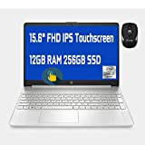 2021 Flagship HP 15 Laptop Computer 15.6' FHD IPS Touchscreen Display 10th Gen Intel Quad-Core i7-1065G7 12GB DDR4 256GB SSD WiFi Webcam HP Fast Charge USB-C Win 10 + iCarp Wireless Mouse
