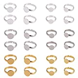 PH PandaHall 60pcs 3 Colors Round Brass Adjustable Finger Ring Settings Components Bezel Tray Flat 8mm / 10mm Ring Base Blank Jewelry Findings for Ring Making