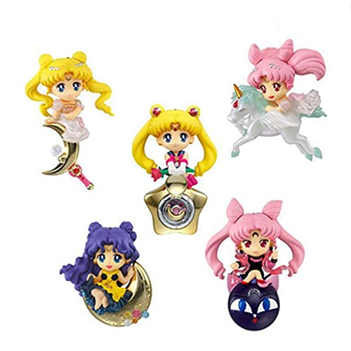 5 Piezas 5Cm Anime Sailor Moon Lindo Chibiusa Figuras De Acción Plata Luna Crystal Power Princess PVC Modelo Colección Estatua Chico Juguete