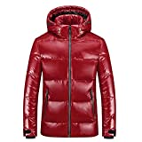 JJZXD Manteau en duvet de canard blanc d'hiver pour homme, chapeau détachable, manteau à glissière imperméable chaud convertible, doudoune lumineuse (Color : A, Size : X-Large)