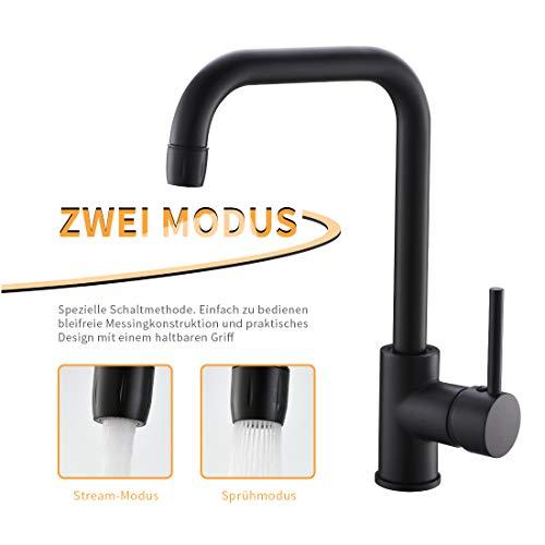QD Küchenarmatur Schwarz Wasserhahn Küche für Kueche Spüle, Küchenspüle,Spülbecken