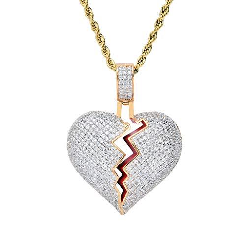 Corazón Roto Collar con Cadena Regalos Colgante de Diamantes Baño de Oro Tipico Colgante de Xxxtentacion Fuera Medallón de Hip Hop Cadena de Cuerda de 24 Pulgada + Caja Clásico + Paño de Microfibra