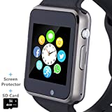 Smart Watch, Smartwatch Phone with SD Card Camera Pedometer Text Call Notification SIM Card Slot Music Player Compatible for Android SamsungHuawei and iPhone (Partial Functions) for Men Women Teens