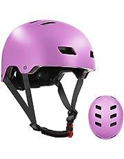 Casco de bicicleta de skate para niños, jóvenes y adultos con dos forros extraíbles para patinaje en línea de patinaje en línea