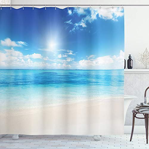 "Ambesonne Ocean Shower Curtain, Beach View from Caribbean Sea in a Sunny Day Exotic Summer Season Print, Cloth Fabric Bathroom Decor Set with Hooks, 84"" Long Extra, Cream Turquoise"