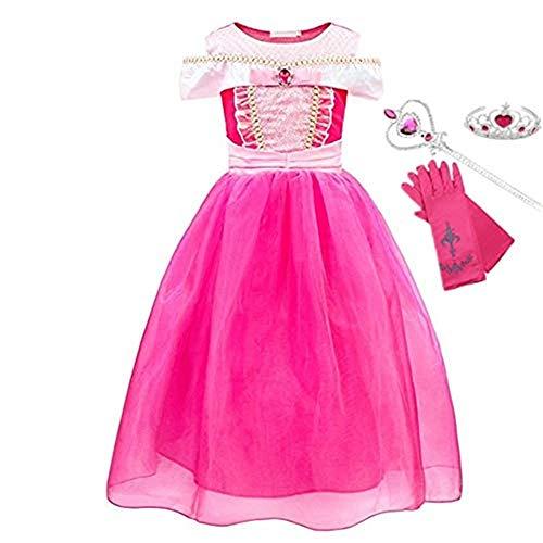 FINDPITAYA Disfraz de Princesa Auro para Niosde Bella durmiente Atuendo Halloween Navidad Cosplay Costume con guantes, varita y corona (140)